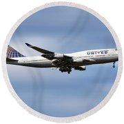 United Airlines Boeing 747-422 Round Beach Towel