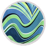 Untitled  Abstract Blue And Green Round Beach Towel
