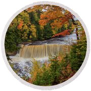 Upper Tahquamenon Autumn Colors -0007 Round Beach Towel