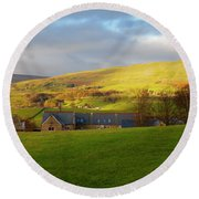 Upper Wensleydale And Lovely Seat From Hawes In Yorkshire Dales Round Beach Towel