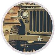 Us Army Jeep World War II Round Beach Towel