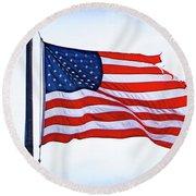 U.s. Flag 5 Round Beach Towel