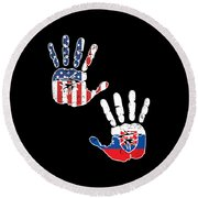 Usa Slovenia Handprint Flag Proud Slovenian American Heritage Biracial American Roots Culture Descendents Digital Art By Martin Hicks