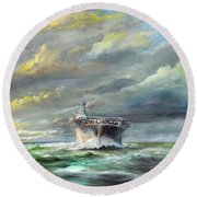 Uss Enterprise Returns To Pearl Round Beach Towel