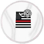 Utah Firefighter Shield Thin Red Line Flag Round Beach Towel