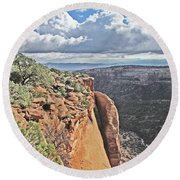 Valley Colorado National Monument Sky Clouds 2892 Round Beach Towel
