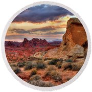 Valley Of Fire Round Beach Towel