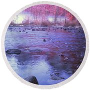 Valley River In Yosemite Round Beach Towel