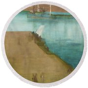Valparaiso Harbor - Digital Remastered Edition Round Beach Towel