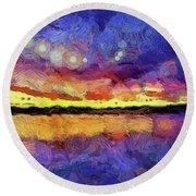 Van Gogh Sunset Reflection Round Beach Towel