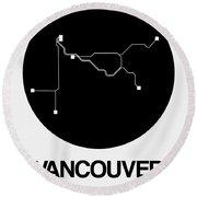 Vancouver Black Subway Map Round Beach Towel