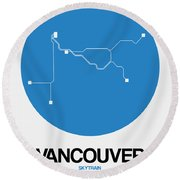 Vancouver Blue Subway Map Round Beach Towel