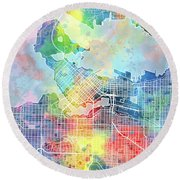 Vancouver Map Watercolor Round Beach Towel