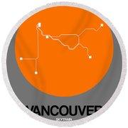 Vancouver Orange Subway Map Round Beach Towel