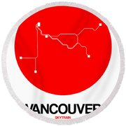 Vancouver Red Subway Map Round Beach Towel