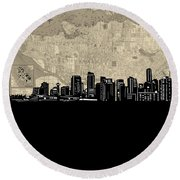 Vancouver Skyline Map Round Beach Towel