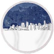 Vancouver Skyline Map Blue Round Beach Towel