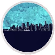 Vancouver Skyline Map Turquoise Round Beach Towel