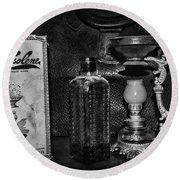 Vapo-cresolene Vaporizer And Bottle Respiratory Remedy Black And White Round Beach Towel