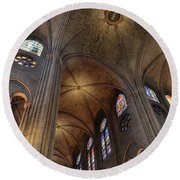 Vaults Of Notre Dame De Paris Before The Fire Of 2019 Round Beach Towel