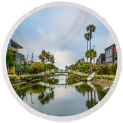 Venice Canals Round Beach Towel