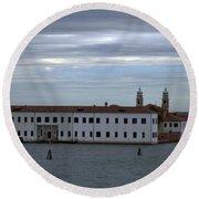 Venice Water Scene Round Beach Towel