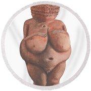 Venus Of Willendorf Round Beach Towel