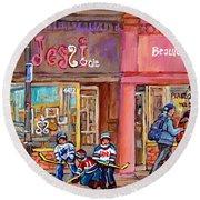 Verdun Montreal Storefront Painting Jessie Et Cie Beaute Candy Nail Shop Hockey Artist C Spandau Art Round Beach Towel