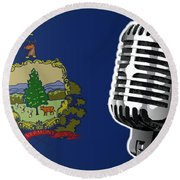 Vermont Flag And Microphone Round Beach Towel