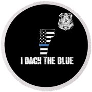 Vermont Police Appreciation Thin Blue Line I Back The Blue Round Beach Towel