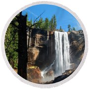 Vernal Fall, Yosemite National Park Round Beach Towel