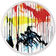 Vertical Sunset Round Beach Towel