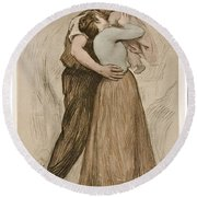 Victor Emile Prouve  French  1858   1943 The Kiss  Le Baiser  1898  Collotype On Wove Paper Round Beach Towel