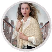 Victorian Woman On A Cobbled Terraced Street Round Beach Towel