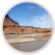 View At Sorrel River Ranch On The Colorado River Near Moab, Utah Round Beach Towel