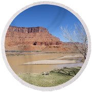 View From A Cabin At Sorrel River Ranch On The Colorado River Ne Round Beach Towel