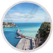View From Castle Hill To The Sea In Nice Round Beach Towel