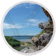 View From Pennard Castle Portrait Round Beach Towel