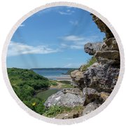 View From Pennard Castle Square Round Beach Towel
