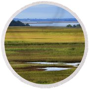 View From The Bridge Round Beach Towel
