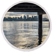 View Of Downtown Seattle At Sunset From Under A Pier Round Beach Towel