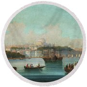 View Of Istanbul - 1 Round Beach Towel