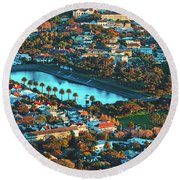 View Of Molteno Reservoir - Cape Town Round Beach Towel