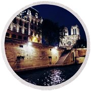 View Of Notre Dame From The Sienne River In Paris, France Round Beach Towel