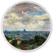 View Of Paris - Digital Remastered Edition Round Beach Towel