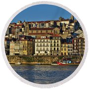View Of Porto And Douro River Round Beach Towel