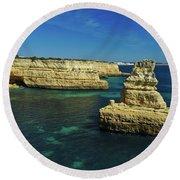 View Of Praia Deserta In Algarve Round Beach Towel