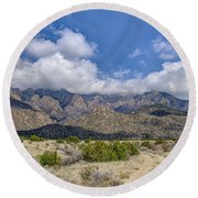 View Of Sandia Mountain Round Beach Towel