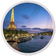 View Of The Eiffel Tower During Sunset From The Scene River Round Beach Towel