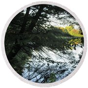 View Of The Lake Through The Branches Round Beach Towel